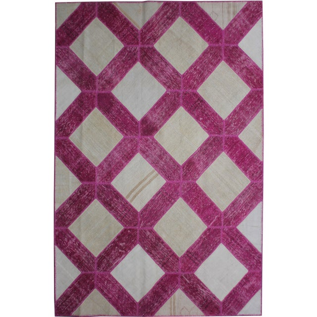 """Aara Rugs Inc. Hand Knotted Patchwork Rug - 10'3"""" X 7'2"""" For Sale"""