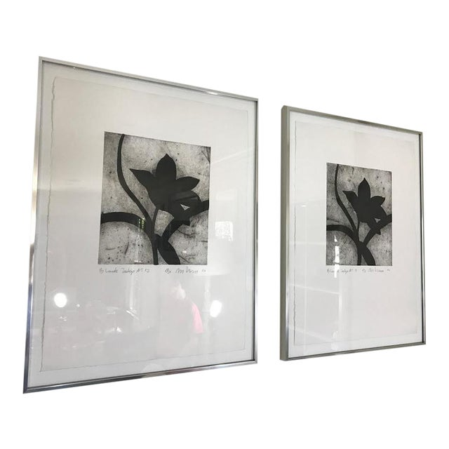 Modern Matching Flower Prints - A Pair - Image 1 of 7