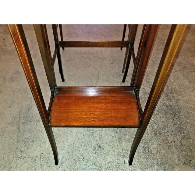 Mahogany Early 20c British Mahogany and Inlaid Nest of Tables For Sale - Image 7 of 13