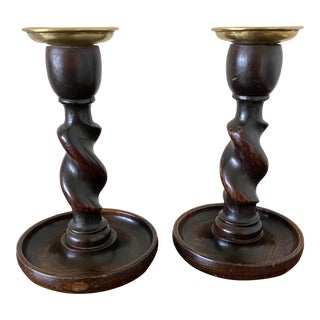 Antique English Barley Twist Candlesticks - a Pair For Sale