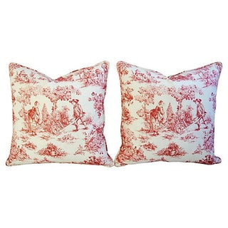 French Country Toile Pillows - a Pair