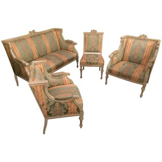 Swedish Fashioned Louis XVI Style Salon Suite, Off-White Paint Decorated Finish For Sale