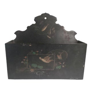 English 19th C. Papier Mache Black Lacquer Letter Holder Wall Pocket For Sale
