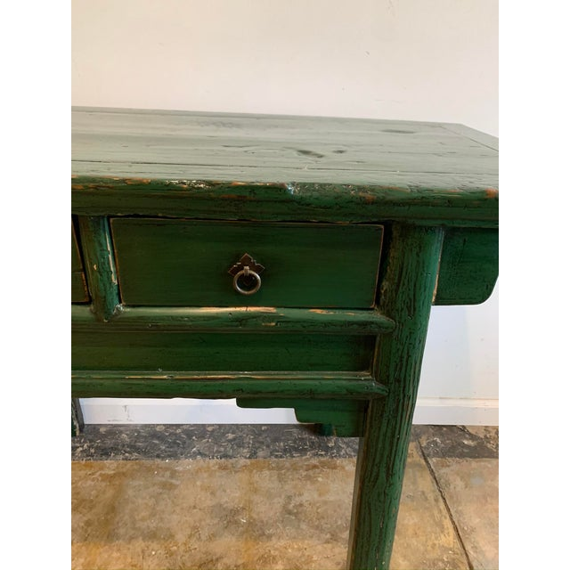 Vintage Asian Console Table in Green For Sale - Image 4 of 12