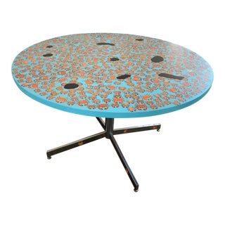 Handpainted Knoll Crab Table on Chrome Base For Sale