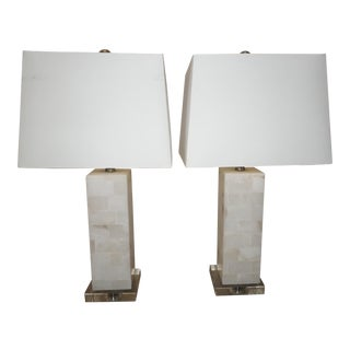 Modern Marble & Lucite Table Lamps- a Pair For Sale
