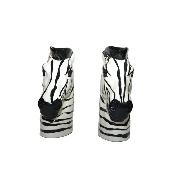 Vintage Zebra Head Vase - A Pair For Sale - Image 4 of 10