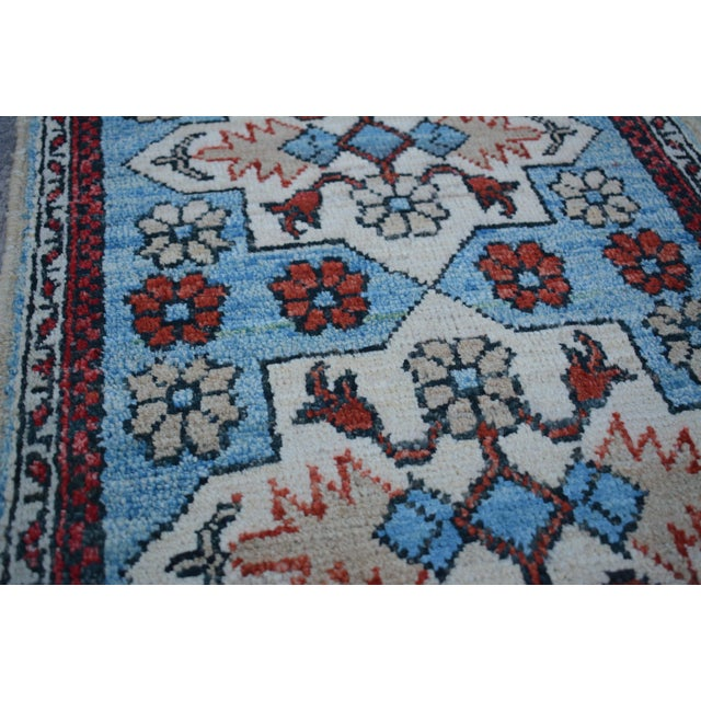 Islamic Traditional Turkoman Hand-Knotted Sky Blue Wool Rug For Sale - Image 3 of 6