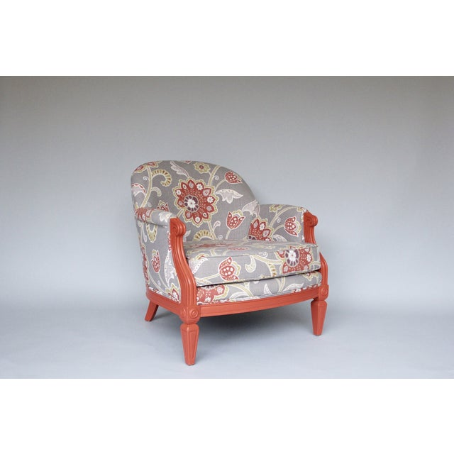 Coral & Floral Upholstered Chair - Image 2 of 4