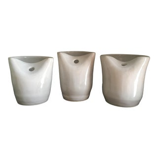 Stoneware Tumblers With Straw Holes - Set of 3 For Sale