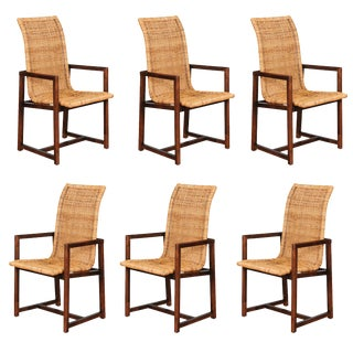 Stunning Set of Six Restored Vintage Wicker and Beech High-Back Dining Chairs For Sale