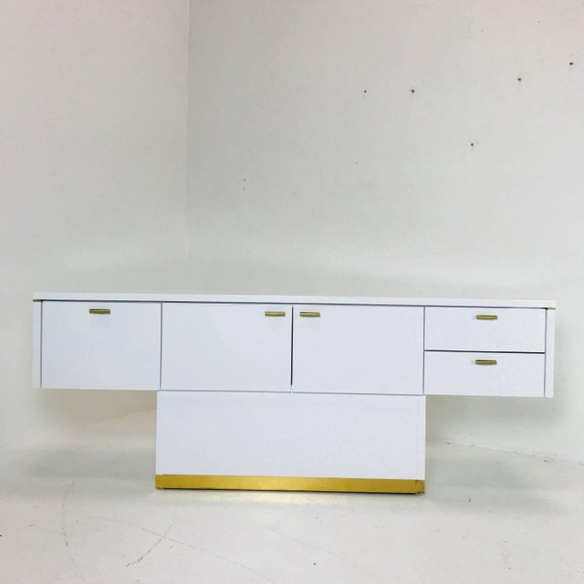 Mid-Century Modern Lacquered T-Console/Sideboard With Brass Accents For Sale - Image 3 of 8