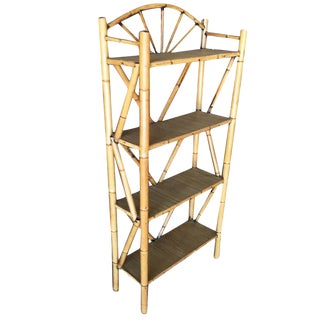 Restored Tiger Bamboo Four-Tier Corner Shelf With Top Crown For Sale