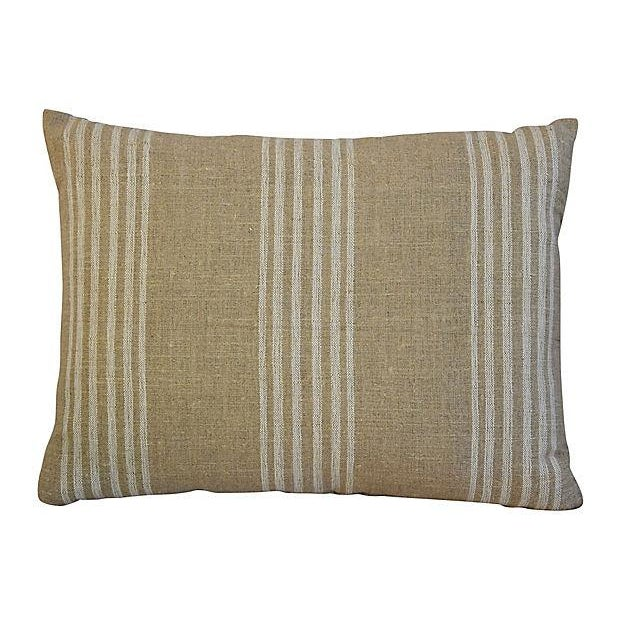 Custom Tan & White French Ticking Feather & Down Pillows - A Pair - Image 2 of 11