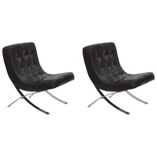 1970s Vintage Chromed Italian Slipper Chairs- A Pair For Sale