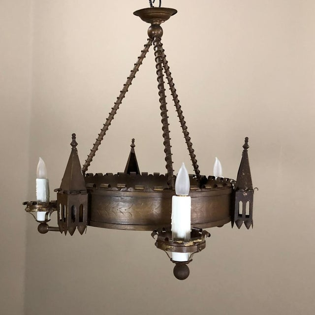 Antique Gothic Wrought Iron Chandelier For Sale - Image 13 of 13