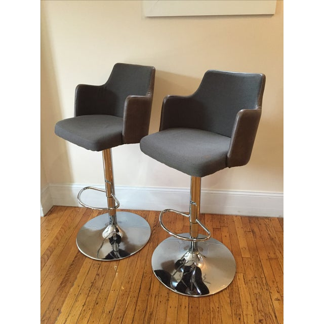 Leather Bar Stools - Pair - Image 2 of 3