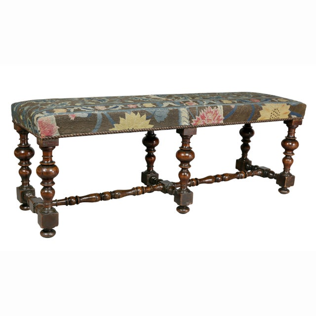 William and Mary Needlepoint Walnut Bench For Sale - Image 10 of 10