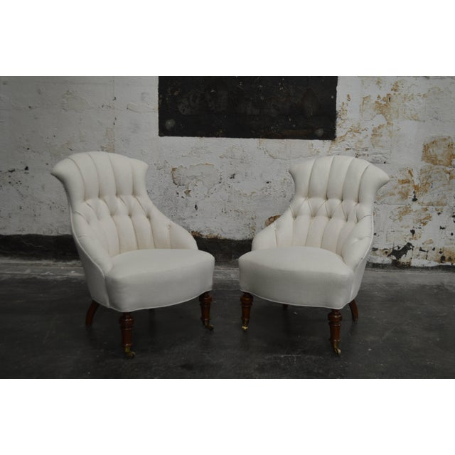 Metal Pair of Vintage Swedish Emma Tufted Slipper Chairs, circa 1900's For Sale - Image 7 of 11