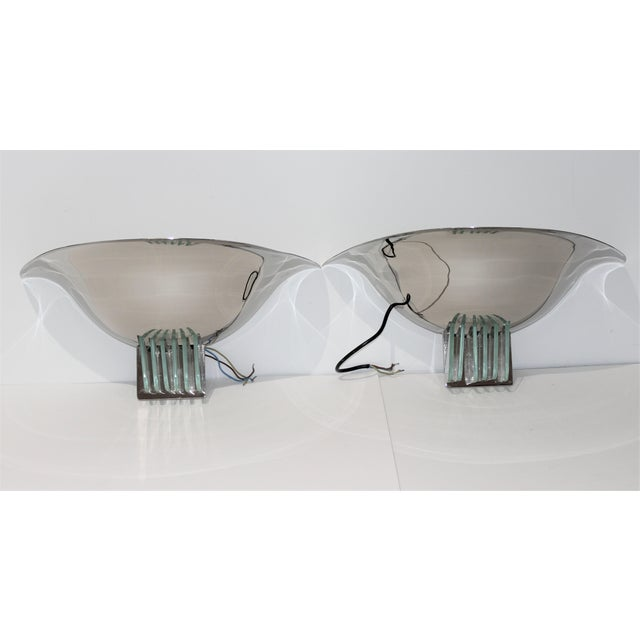 Vintage Art Deco Revival Karl Springer Style Sconces Nickel - a Pair For Sale - Image 12 of 12