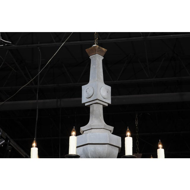 Grand Scale Contemporary Industrial Chandelier Made with 19th Century Zinc Finial For Sale - Image 4 of 11