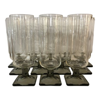 Rosenthal Crystal Linear Smoke Wine/Champagne Stems - Set of 12 For Sale