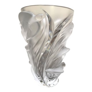 Lalique France, Art Glass Martinets Vase Signed. Frosted Raised Birds in Flight