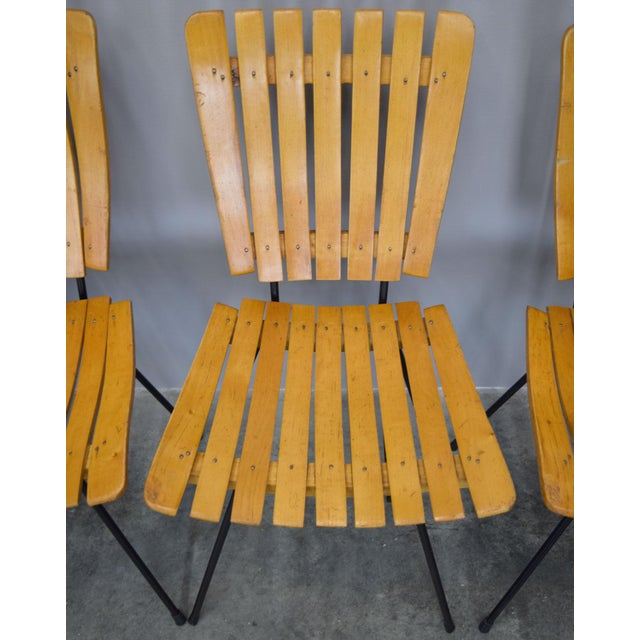 Yellow Arthur Umanoff Raymor Mid-Century Slat Chairs, Set/4 For Sale - Image 8 of 9