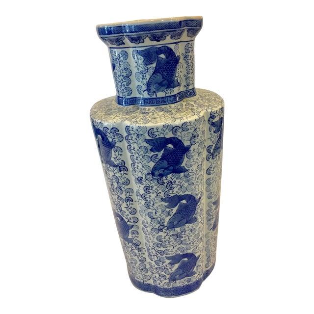 1960s Chinese Blue White Ceramic Umbrella Vase Chairish