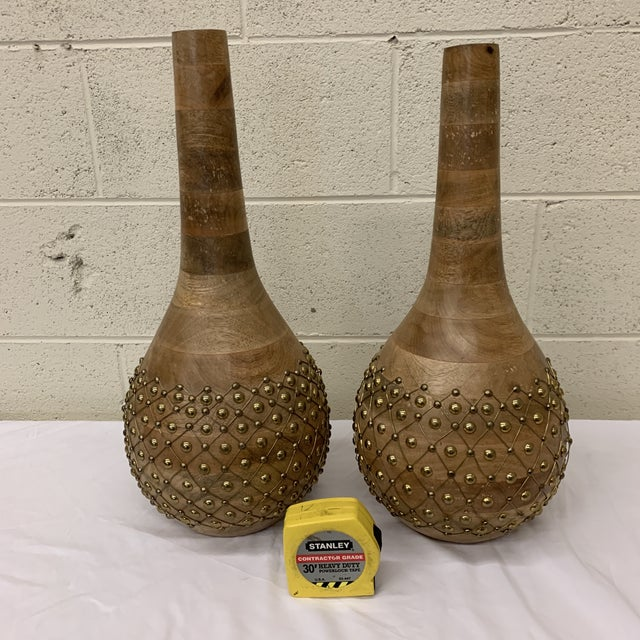 Moroccan Styles Wood & Brass Vases Jugs - a Pair For Sale In Richmond - Image 6 of 13