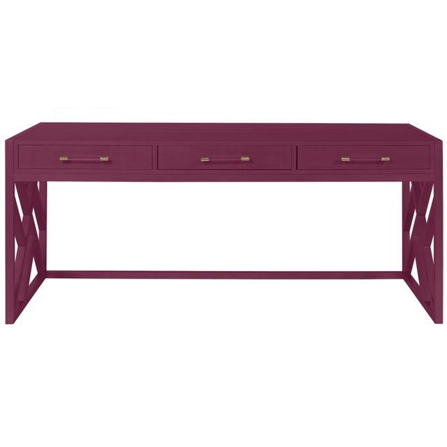 Transitional Casa Cosima CeCe Desk with Wood Fretwork Base, Grape Juice For Sale - Image 3 of 3
