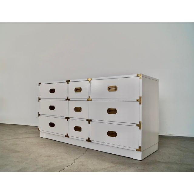 Campaign 1960s Drexel Campaign Hollywood Regency Dresser For Sale - Image 3 of 13