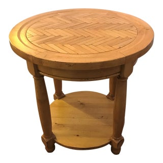 French Counrty Wood Table With Inlaid Herringbone Top For Sale