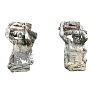 1920s Traditional Concrete Architectural Statues - a Pair For Sale