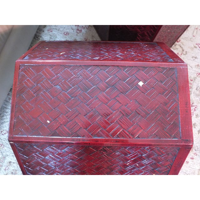 "Antique 16"" Tall Chinese Red Storage Stools - Image 10 of 11"