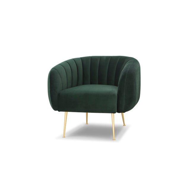 Channeled Side Chair in Dark Green For Sale In Philadelphia - Image 6 of 6
