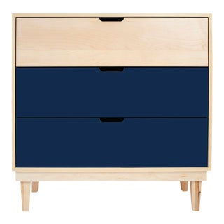 Kabano Modern Kids 3-Drawer Dresser in Maple With Deep Blue Finish For Sale