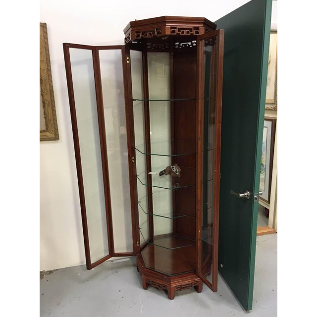 Vintage Asian Rosewood Octagonal Curio China Cabinet For Sale - Image 11 of 12