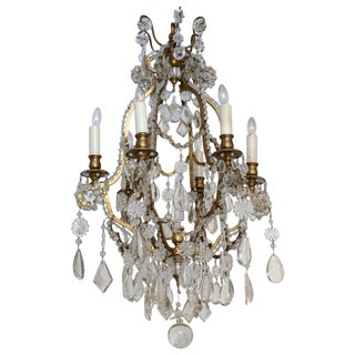 Late 19th Century Gilded Brass Six-light Chandelier For Sale