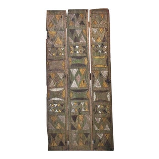 Vintage Mid-Century Nupe Door on Custom Metal Base Sculpture For Sale