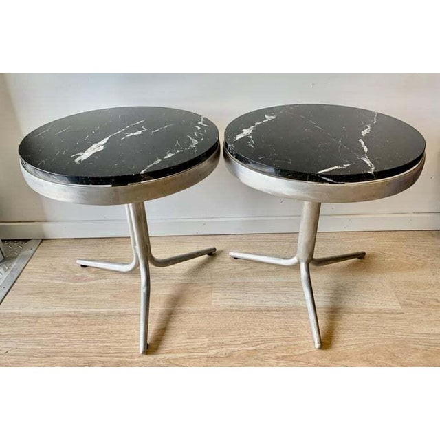 Aluminum and Marble Side Tables - a Pair For Sale - Image 11 of 12