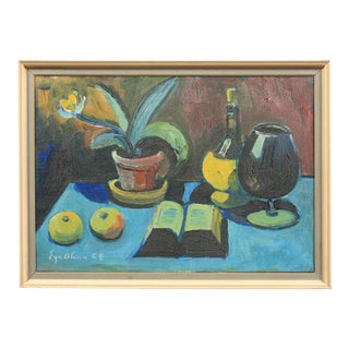 1964 Eyvind Olesen Still Life with Book and Wine For Sale