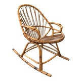 Image of Vintage Albini Rattan Rocker Chair For Sale
