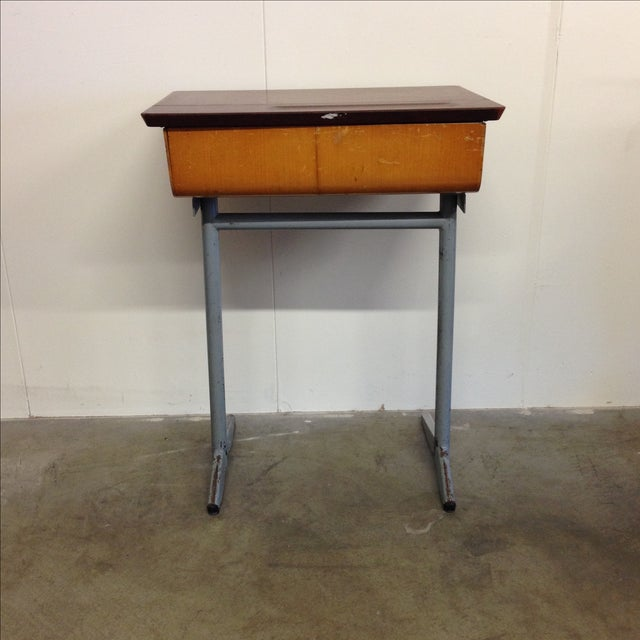 Vintage 1960s Children's School Desk For Sale - Image 5 of 7