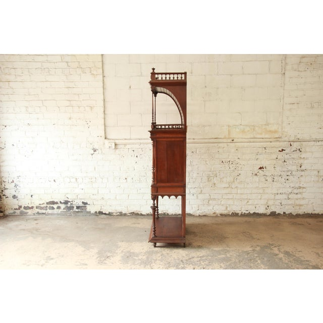 Antique Carved Oak Tall French Bar Cabinet For Sale - Image 11 of 13