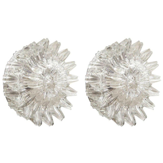 Mid-Century Modern Mid-Century Starburst Glass Sconces - A Pair For Sale - Image 3 of 3