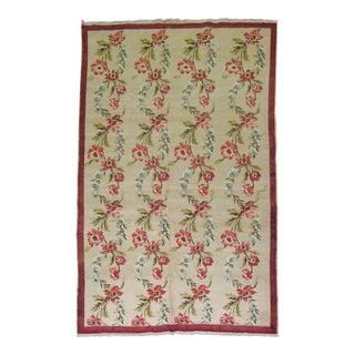 """Vintage Turkish Floral Rug - 4'8"""" x 7'4"""" For Sale"""
