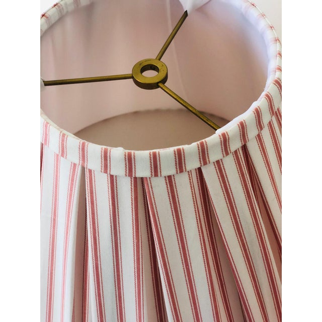 2010s Custom Box Pleat Lampshades With Ticking Strip - a Pair For Sale - Image 5 of 6
