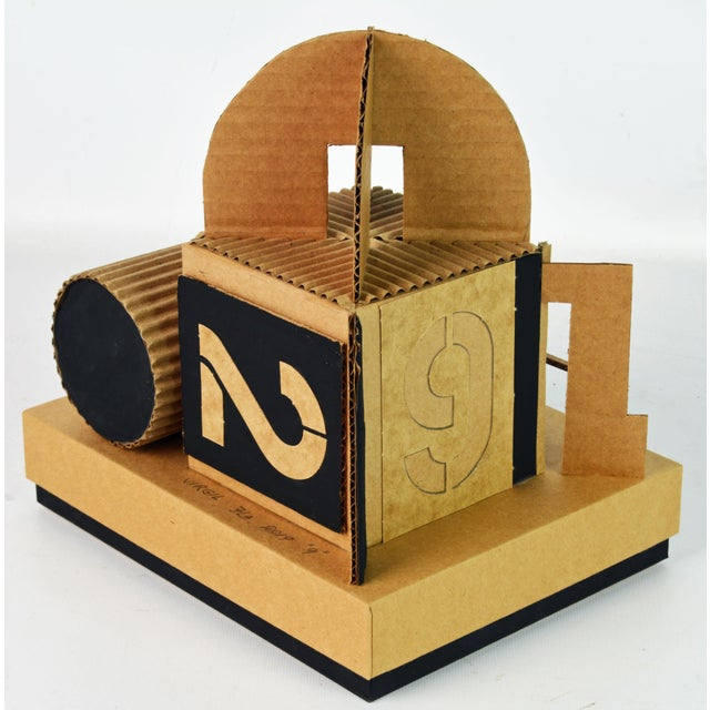 Paper Cubist Bauhaus Style Architectural Cardboard Table Sculpture by Virgil Greca For Sale - Image 7 of 13