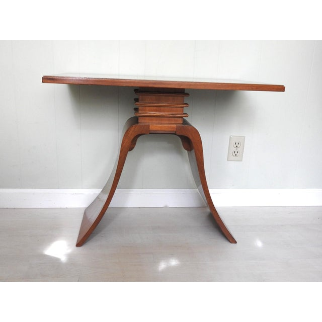 """1940s Paul Frankl art deco """"Bell"""" solid wood side table. Original finish with pristine table top condition without..."""